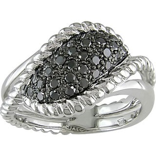 M by Miadora Sterling Silver 1/2Ct TDW Fancy Black Diamond Ring with Bonus Earrings