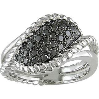 Haylee Jewels Sterling Silver 1/2Ct TDW Fancy Black Diamond Ring