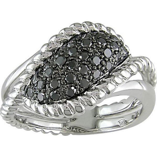 Haylee Jewels Sterling Silver 1/2Ct TDW Fancy Black Diamond Ring