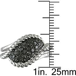 Miadora Sterling Silver 1/2Ct TDW Fancy Black Diamond Ring