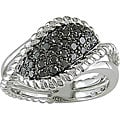 Miadora Sterling Silver 1/2ct TDW Black Diamond Ring