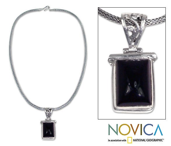 Sterling Silver Onyx 'Dream Guide' Necklace (Indonesia)