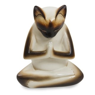 Wood 'Kitty Meditates' Statuette (Indonesia)