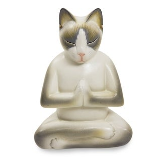 Cat In Meditation Handmade Kitten Kitty Prayer Zen Buddhist White Gray Feline Home Decor Desk Gift Wood Statuette