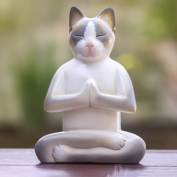 Wood 'Cat in Meditation' Statuette (Indonesia)