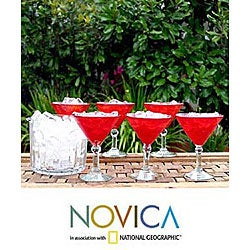 Set of 6 'Ruby Red' Martini Glasses (Mexico)