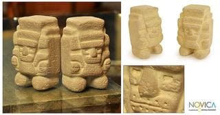 Pair of Ceramic 'Tlaloc, God of Rain' Statuettes (Mexico)