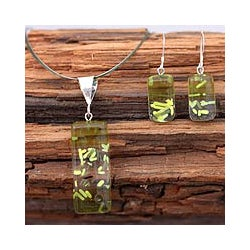 Dichroic Glass 'Lime Raindrops' Jewelry Set (Mexico)