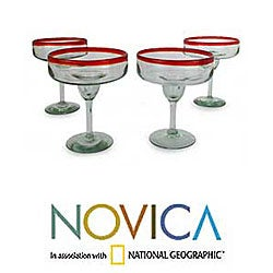 Set of 4 'Ruby Cheer' Margarita Glasses (Mexico)