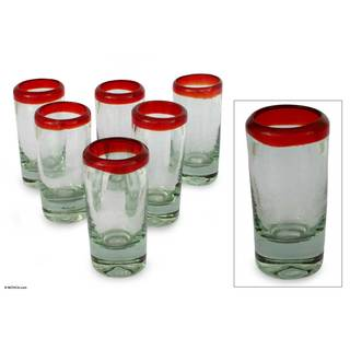 Set of 6 Ruby Tequila Shot Glasses (Mexico)