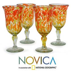 Set of 4 Blown Glass 'Sun Celebration' Goblets (Mexico)