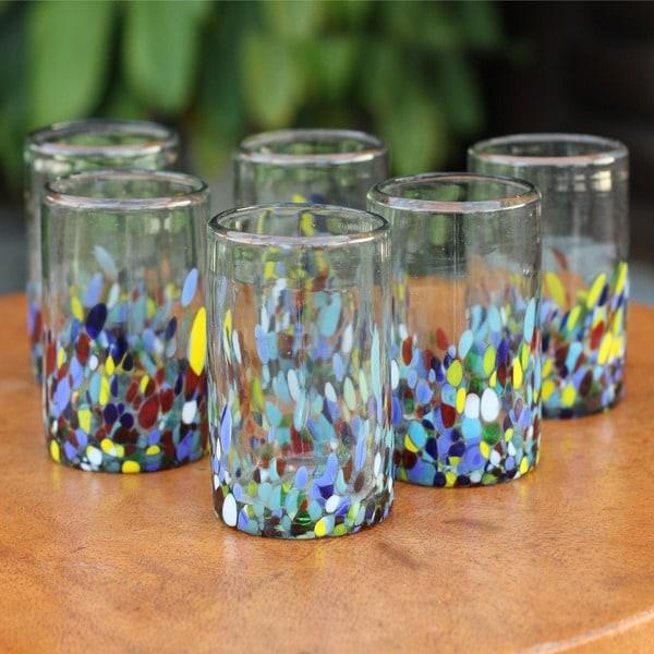 Set of 6 Hand Blown Glasses Confetti Multicolor Tumblers (Mexico)