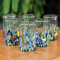 Set of 6 Blown Glass 'Confetti' Tumblers (Mexico)