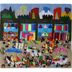 Applique 'Busy City Market' Wall Hanging (Peru)