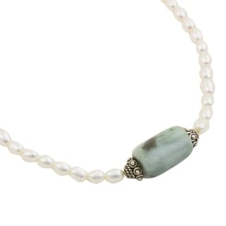 Touch of Life Green Jade Gemstone Bead and 925 Sterling Silver Rondelles Lobster Catch Womens White Pearl Necklace (Thailand)