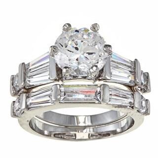 NEXTE Jewelry 14k White Goldplated CZ Pinnacle Bridal-style Rings Set