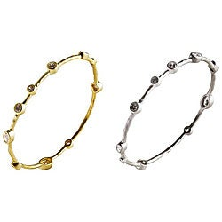Nexte 14k Gold Overlay CZ Abstract Bangle Bracelet
