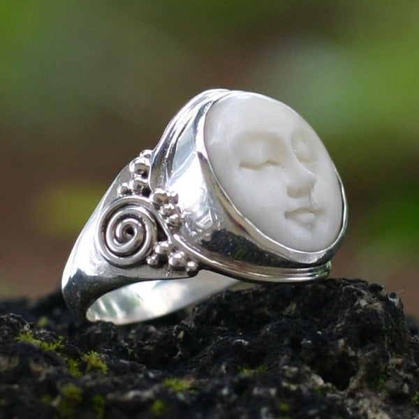 Cow Bone 'Face of the Moon' Ring (Indonesia)