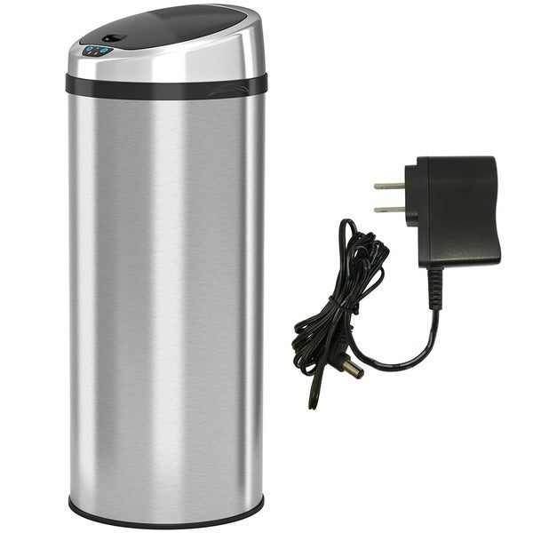 iTouchless 13 Gallon Automatic Stainless Steel Touchless Trash Can NX with AC Adaptor 5060838