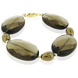 Glitzy Rocks 18k Gold over Silver Smokey Quartz and Faux Pearl Bracelet