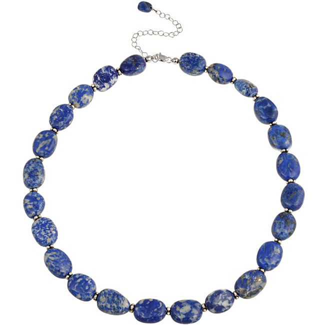 Glitzy Rocks Sterling Silver Lapis Nugget Necklace