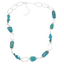 Glitzy Rocks Sterling Silver Turquoise Nugget And Chip Necklace