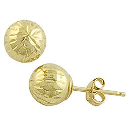 Fremada 14k Yellow Gold 6 mm Diamond-cut Ball Earrings