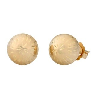 Fremada Women's 14k Yellow Gold 6 mm Diamond-cut Ball Earrings