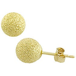 Fremada 14k Yellow Gold 6 mm Laser-cut Ball Earrings