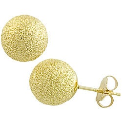 Fremada 14k Yellow Gold 8 mm Laser-cut Ball Earrings