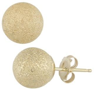 Fremada 14k Yellow Gold 8 mm Laser-cut Ball Earrings