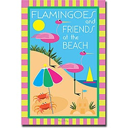 Grace Reily 'Flamingoes and Friends at the Beach' Canvas Art