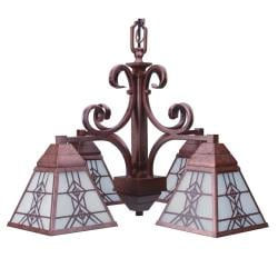 Old World Bronze 4-light Chandelier with Seedy Glass