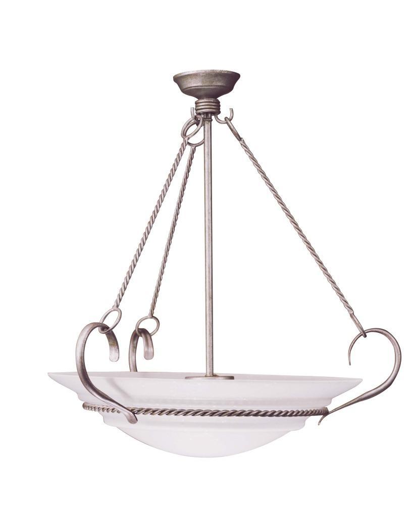 Vintage Silver Seedy Glass 5-light Pendant