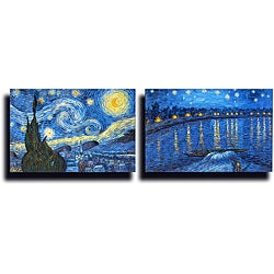 Hand-painted 'Vincent van Gogh' Reproduction on Canvas (Set of 2)