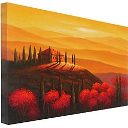 Hand-painted 'Sunset Tuscany' Canvas Art