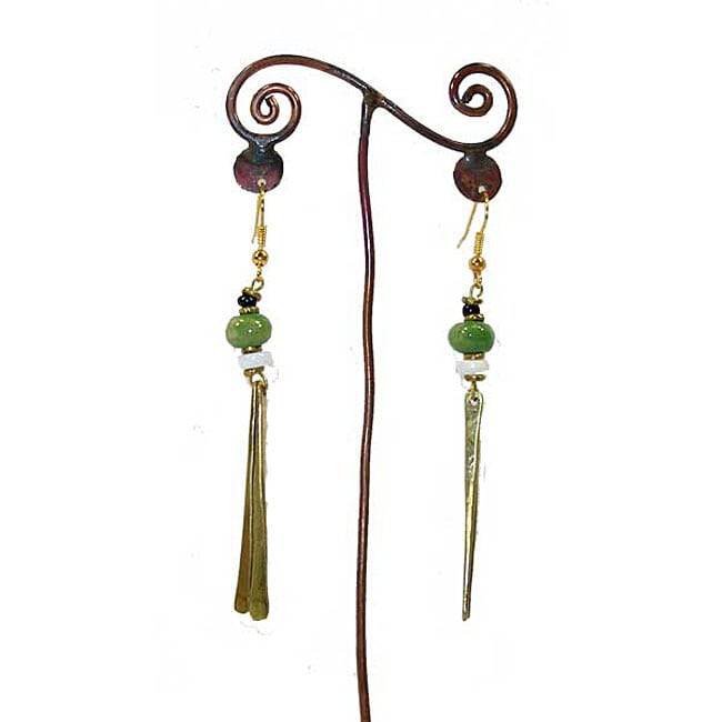 Brass Green Bead and Two Bars #1 Earrings (Kenya)