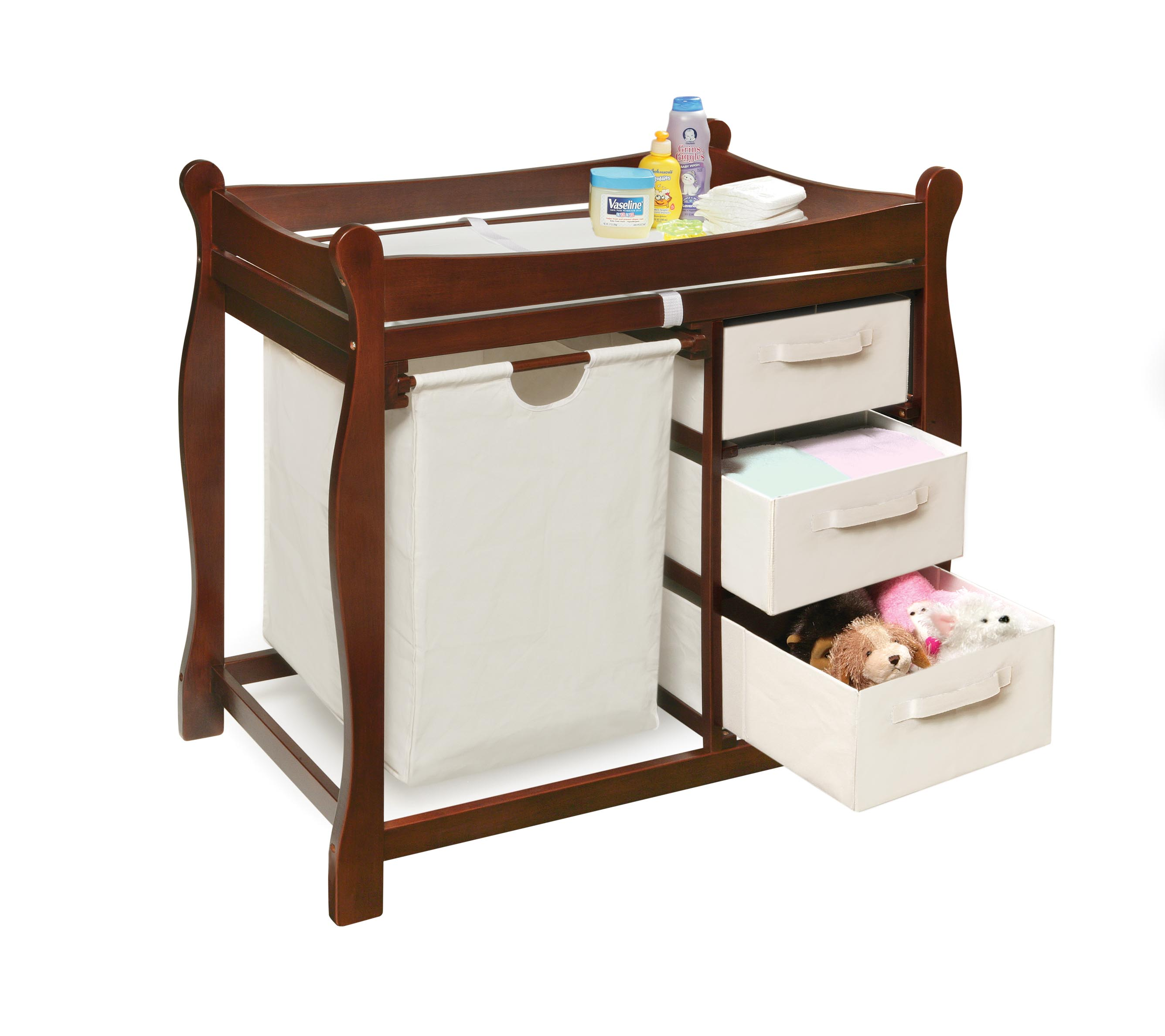 Cherry Changing Table with Hamper and Three Baskets