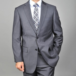 Men's 2-button Solid Charcoal Suit