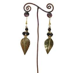 Brass Leaf and Dark Bead #5 Earrings (Kenya)