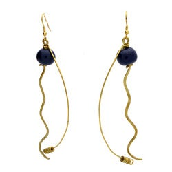 Brass Dark Bead and Dangles #7 Earrings (Kenya)