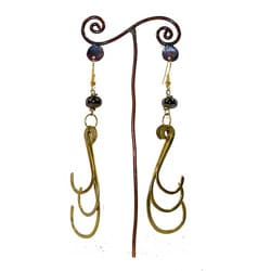 Brass Dark Bead and Triple Hook #8 Earrings (Kenya)