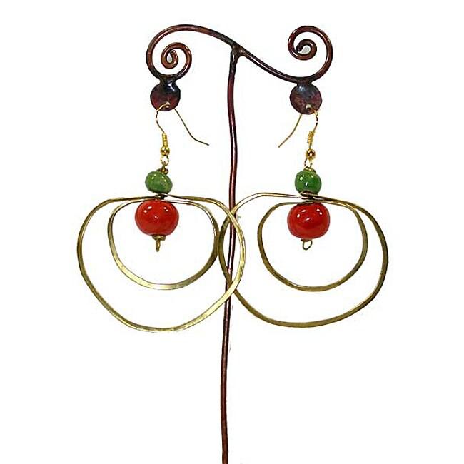 Handmade Brass Loops and Ceramic Bead Earrings (Kenya)