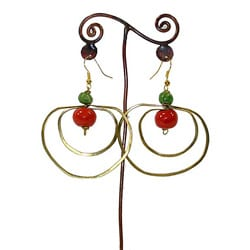 Handmade Brass Loops and Ceramic Bead Earrings (Kenya)