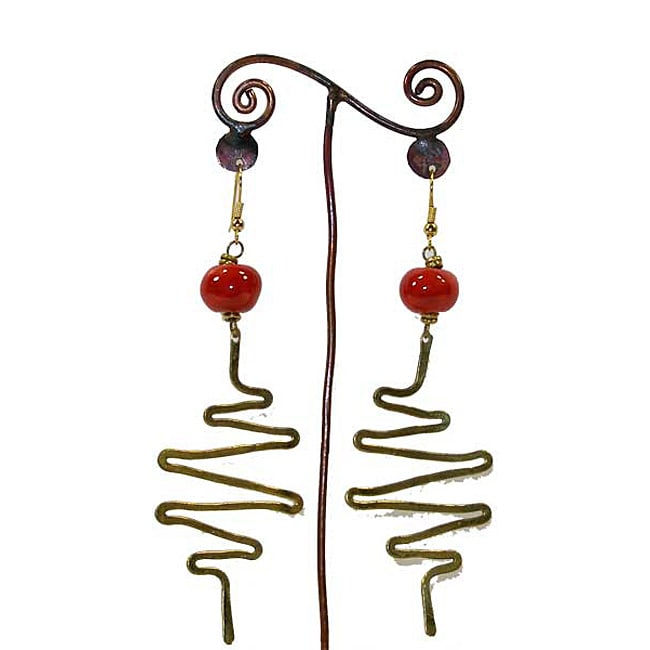 Brass Red Bead and Zig Zags #13 Earrings (Kenya)