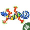 Hand-painted Recycled Oil Drum 13-inch Gecko Wall Art (Haiti)
