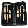 Royce Leather Men's Black Leather Manicure Set