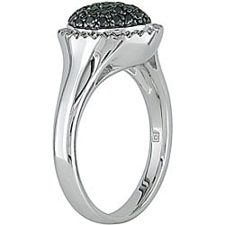 Haylee Jewels Sterling Silver Pave-set 1/3ct TDW Black Diamond Ring