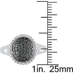 M by Miadora Sterling Silver Pave-set 1/3ct TDW Black Diamond Ring