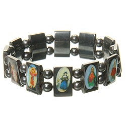 Hematite Religious Icon Magnetic Bracelet